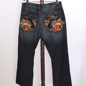 Ed Hardy Panther straight leg distressed jeans